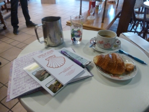 Croissant, Cafe au lait, credenciale and my journal