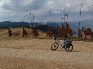 Peregrino sculpture-scape on Alto de Perdon