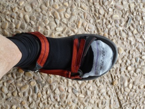 Happy Foot! New Teva hiking sandal with 1000 Mile Fusion Socks, of course!
