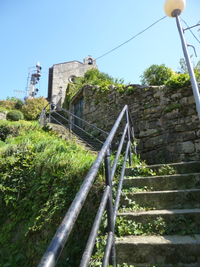 The first set of steps going up to our albergue in Pasai Donebane . . . 119 in all