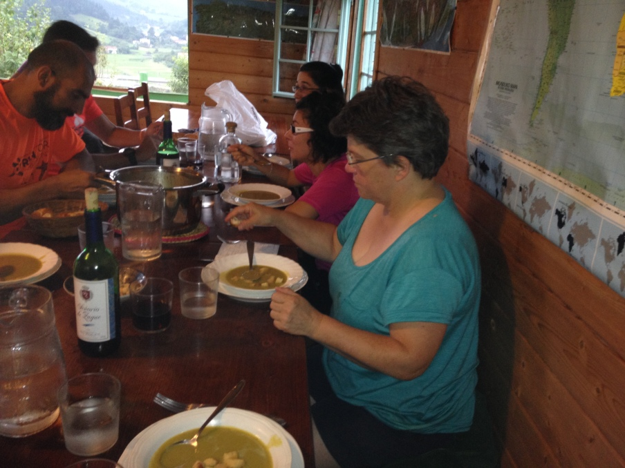 Delicious soup at Albergue San Martin, run by a family who offers the lower level of their enormous house to peregrinos