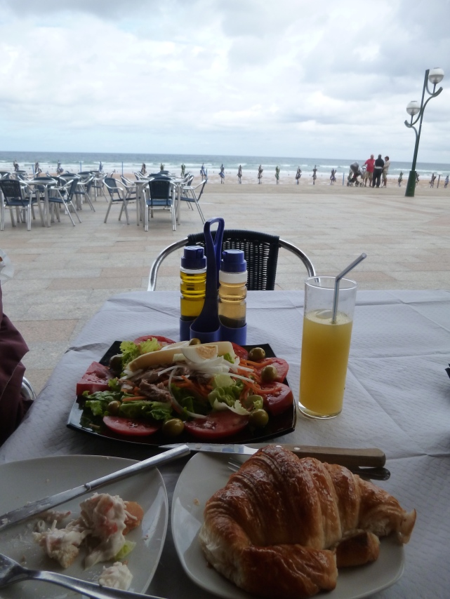 Delicious salad on the beach at Zarautz