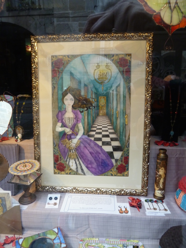 "A piece of art I couldn't even be tempted to buy, because of the three-day holiday, when many shops were closed . . . but what a piece to remind me of the ""Looking Glass"" aspects of the Camino . . ."